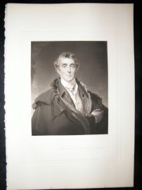 After Thomas Lawrence 1844 Folio Mezzotint Portrait. Duke of Wellington